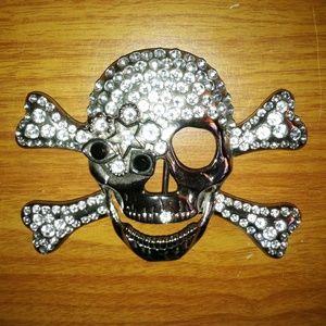 Other - NWOT Skull Crossbones White/Black Rhinestones Belt